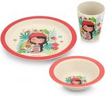 """Набір дитячий 3 предмета Fissman """"Дівчинка"""", тарілка, піала і стакан, бамбукове волокно"""