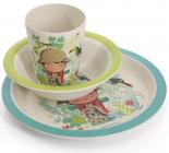 """Набір дитячий 3 предмета Fissman """"Хлопчик"""", тарілка, піала і стакан, бамбукове волокно"""