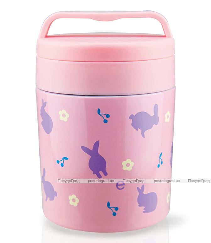 """Термос пищевой Fissman """"Bunnies"""" 350мл розового цвета"""