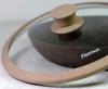 Кришка скляна Fissman ARCADES Ø26см з силіконовим ободом (темний бежевий мармур)