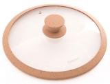 Крышка стеклянная Fissman ARCADES Ø26см с силиконовым ободом (темный бежевый мрамор)