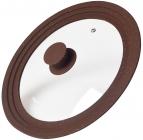 Крышка мультиразмерная Fissman Triplex стеклянная Ø24/Ø26Ø28см, коричневая