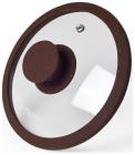 Крышка стеклянная Fissman ARCADES Ø26см с силиконовым ободом (темно-коричневый мрамор)