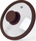 Крышка стеклянная Fissman ARCADES Ø28см с силиконовым ободом (темно-коричневый мрамор)