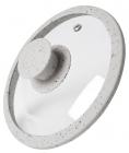 Крышка стеклянная Fissman ARCADES Ø26см с силиконовым ободом (светло-серый мрамор)