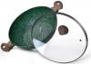 Вок Fissman Malachite Ø30см с антипригарным покрытием EcoStone со стеклянной крышкой