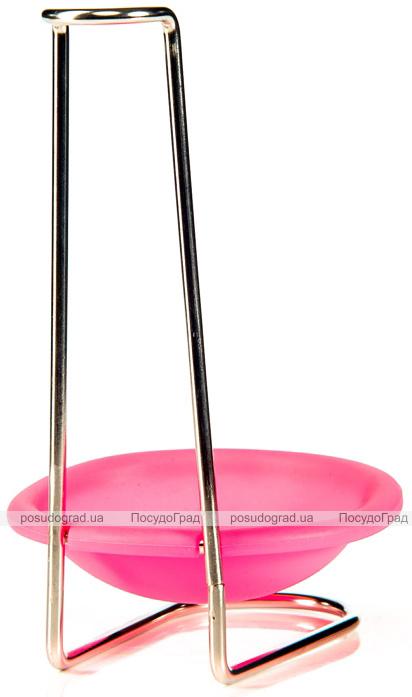 Подставка для половника Fissman с силиконовым блюдцем, розовая