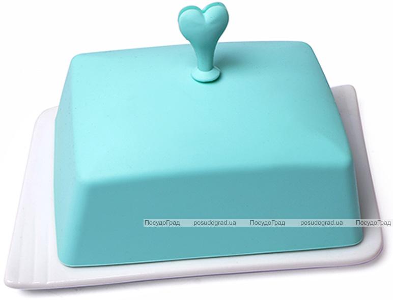 Масленка керамическая Fissman Ennafa с силиконовой крышкой, аквамарин