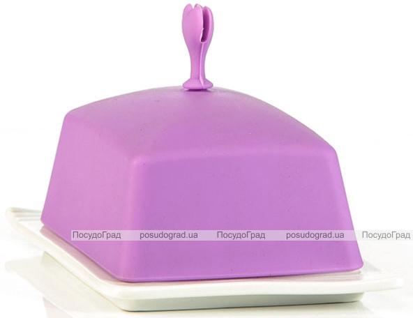 Масленка керамическая Fissman Ennafa с силиконовой крышкой, сиреневая