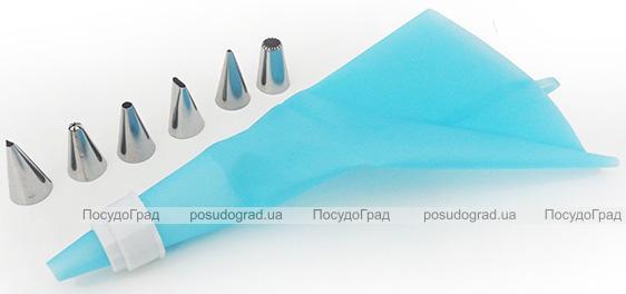 Кондитерский мешок Fissman 25см силиконовый с 6 насадками