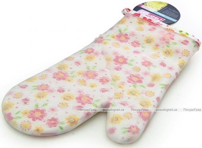 Кухонная рукавица Fissman Pink Flower 32см, хлопок с силиконовым покрытием