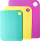 Набор 3 гибкие разделочные доски Fissman: розовая, голубая, желтая