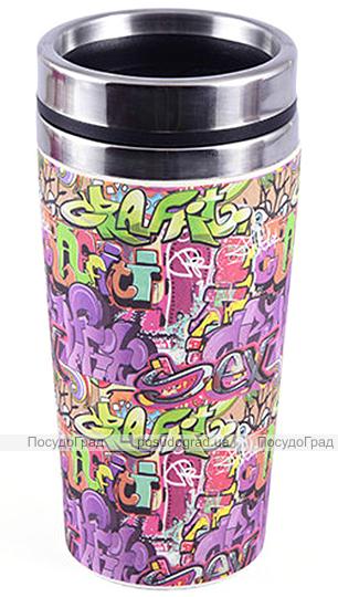 Термокружка Fissman Graffiti 500мл нержавейка+бамбуковое волокно