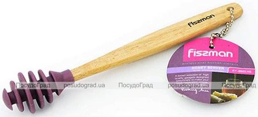 Ложка-булава для меда Fissman 18см силиконовая с деревянной ручкой