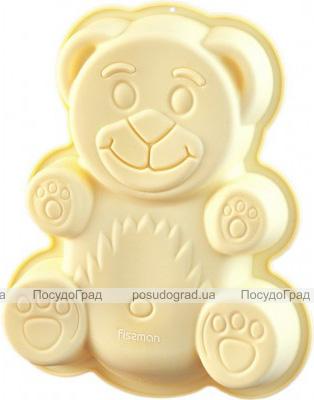 Форма для выпечки Fissman Медвежонок силиконовая 22х19см, желтая
