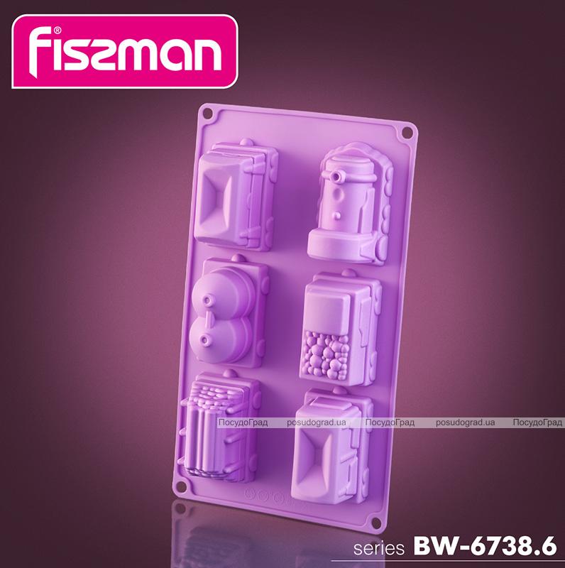 Форма для выпечки Fissman Поезд силиконовая 30х17см, 6 ячеек