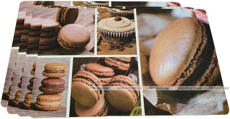 Набір 4 сервірувальних килимка Fissman Cocoa Macarons 43.5х28.5см, пластик
