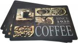 Набор 4 сервировочных коврика Fissman Black Coffee 43.5х28.5см, пластик