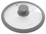 Кришка скляна Fissman ARCADES Ø26см з силіконовим ободом (сірий мармур)
