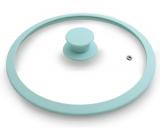 Крышка стеклянная Fissman ARCADES Ø26см с силиконовым ободом (аквамарин)