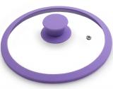 Крышка стеклянная Fissman ARCADES Ø28см с силиконовым ободом (пурпурный)