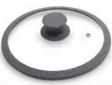 Кришка скляна Fissman ARCADES Ø28см з силіконовим ободом (сірий мармур)