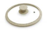 Крышка стеклянная Fissman ARCADES Ø20см с силиконовым ободом (бежевый мрамор)
