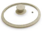 Кришка скляна Fissman ARCADES Ø26см з силіконовим ободом (бежевий мармур)