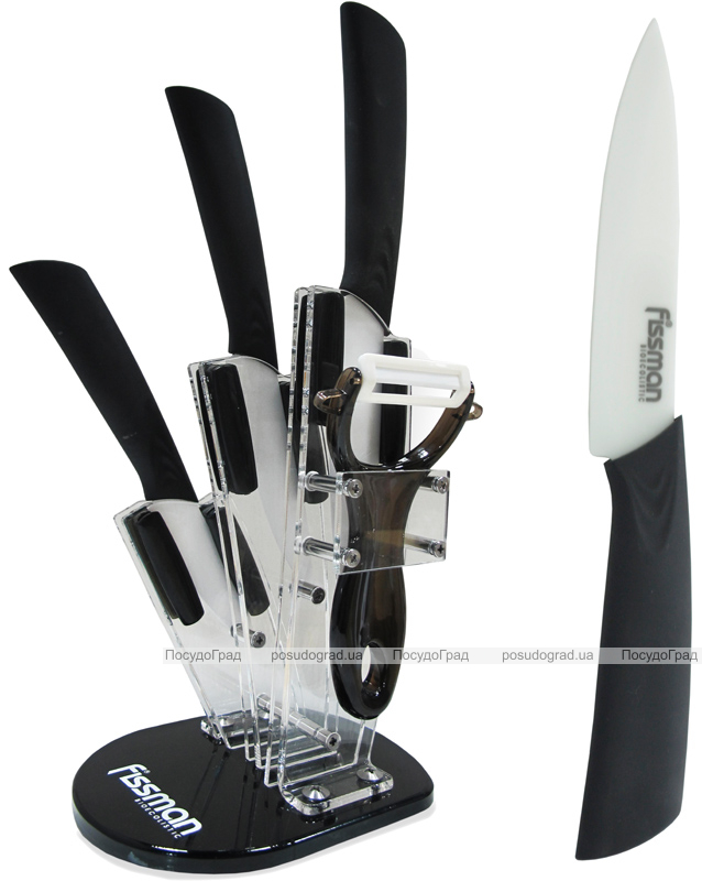 Набор керамических ножей Fissman Adria 4 ножа на подставке-веере