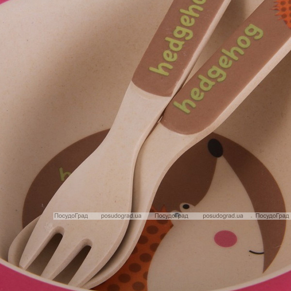 """Детский набор Fissman """"Ёжик"""" миска, ложка и вилка из бамбукового волокна"""