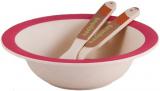 Детский набор Fissman Ёжик миска, ложка и вилка из бамбукового волокна