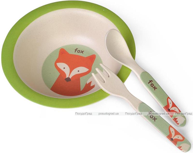 """Дитячий набір Fissman """"Лисеня"""" миска, ложка і виделка з бамбукового волокна"""