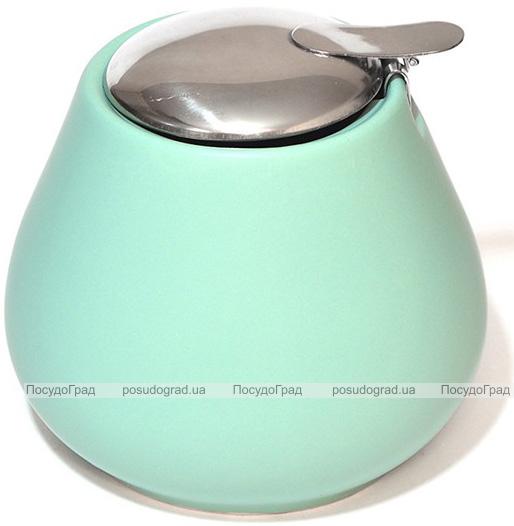 Сахарница керамическая Fissman ProfiTea 600мл с откидной крышкой, аквамарин