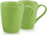 Набор 2 керамические кружки Fissman Sunshine 300мл, зеленые
