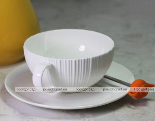 Чайная пара Fissman Elegance White чашка 250мл с блюдцем, фарфор
