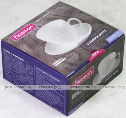 Кофейный набор Fissman Elegance White чашка 100мл с блюдцем, фарфор