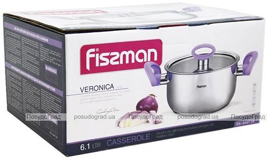 Кастрюля Fissman Veronica 6.1л с бакелитовыми ручками