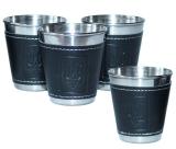Набір 4 дорожні сталеві стопки (чарки) Dynasty 70мл в чохлі