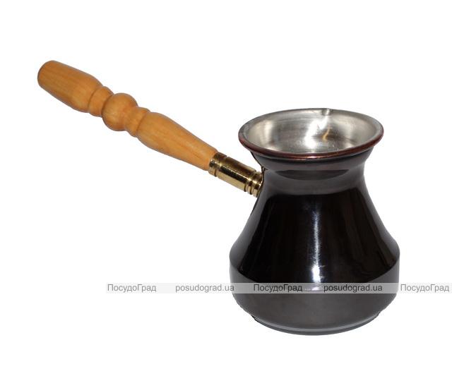 Турка медная 350мл с деревянной ручкой