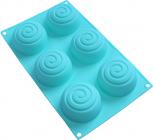 """Форма-планшет силіконова """"Спіраль"""" для евродесертів, випічки кексів і маффінів 29.5х17.5см, 6 осередків"""
