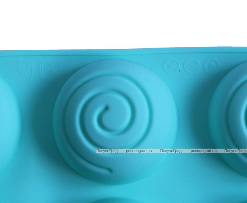 """Форма-планшет силиконовая """"Спираль"""" для евродесертов, выпечки кексов и маффинов 29.5х17.5см, 6 ячеек"""