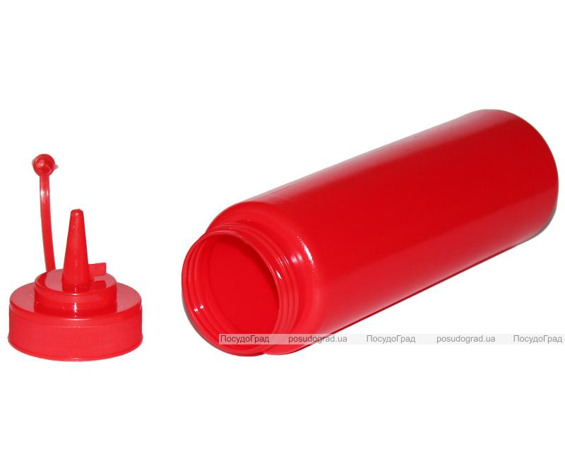 Диспенсер для соусов и сиропов 350мл красный с колпачком