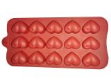 Силиконовая форма 7157 для 12 конфет или льда Сердечки 20х12х2см