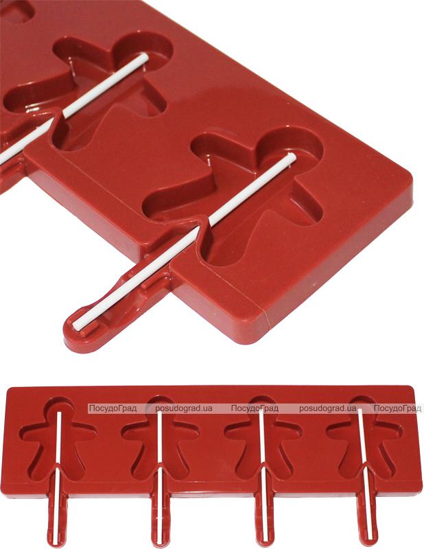 Форма Hauser Человечек для леденцов на палочке, силиконовый планшет 350х95мм