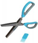 Ножиці для нарізки зелені з 10 посиленими лезами з пилкою + щіточка для чистки лез
