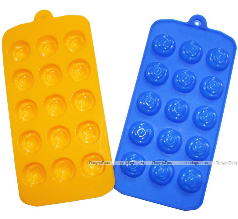 """Форма силиконовая для конфет и льда """"Розочки"""" планшет 15шт"""