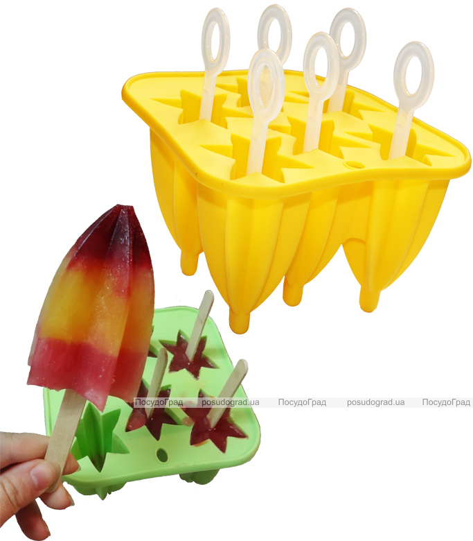 """Форма силиконовая Hauser """"Звездочка"""" для мороженого на палочке, 6 порций"""
