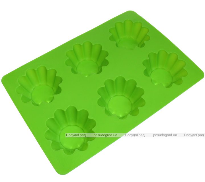 """Форма силиконовая для выпекания """"Кекс Волнистый Конус Мини"""" планшет 6шт"""