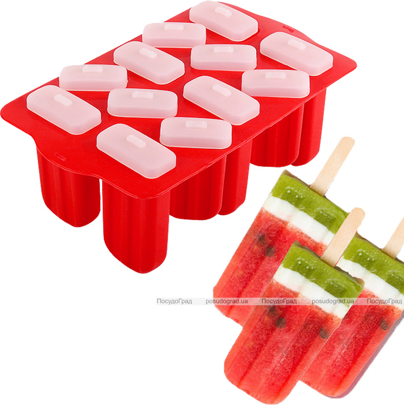 Форма для морозива та замороженого соку 12 осередків, силіконова