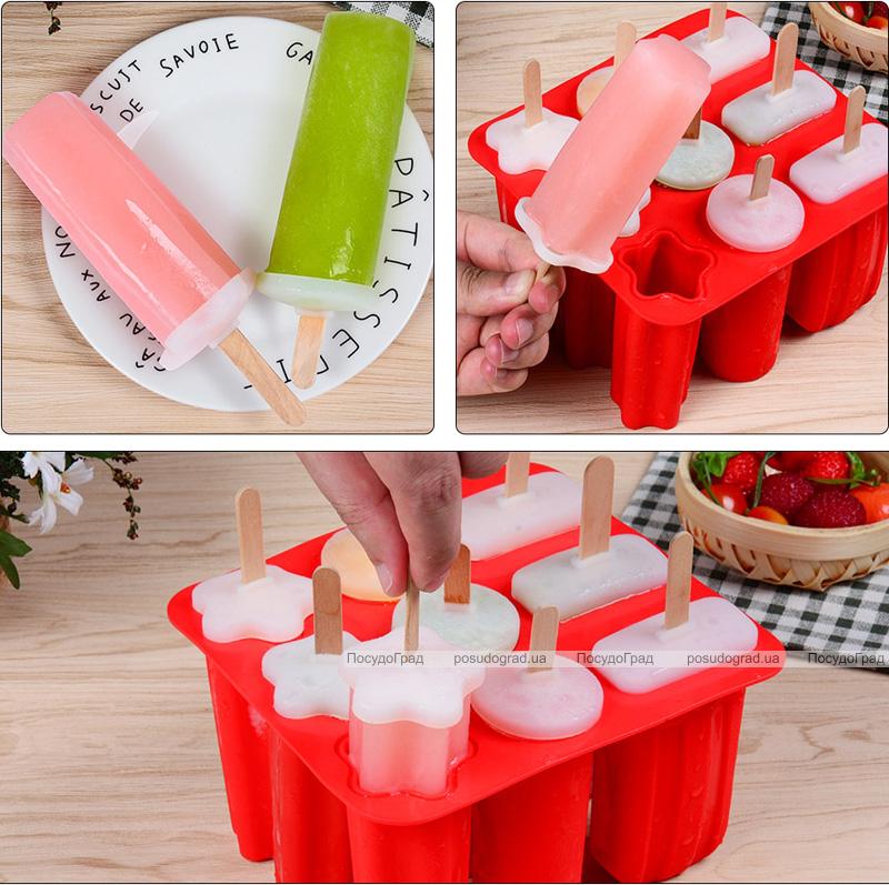Форма для мороженого и замороженного сока 9 ячеек, силиконовая